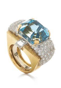 David Webb Aquamarine & Diamond Ring David Webb, Aqua Marine, Beautiful Rings, Opal, Wedding Rings, Engagement Rings, Pearls, Diamond, Jewelry