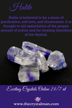 Purification-Self Love-Illumination-Iodine Uptake-Thyroid Shop Canadian Halite & so much more at The Crystal Man! Chakra Crystals, Crystals Minerals, Gems And Minerals, Crystals And Gemstones, Stones And Crystals, Gem Stones, Crystal Healing Stones, Crystal Magic, Crystal Shop