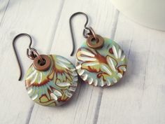 Polymer Clay Earrings featuring Carved Tropical Gold, Turquoise, White and Brown Boho Round Design