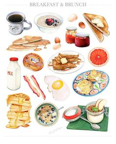 Happy brunching this weekend ☕️ Breakfast & Brunch, by Kendyll Hillegas Brunch, Food Illustrations, Illustration Art, Food Sketch, Watercolor Food, Food Painting, Food Charts, Food Drawing, Mets