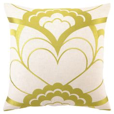 Linen pillow with an embroidered floral motif.   Product: PillowConstruction Material: 100% Linen cover and feat...