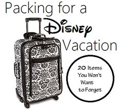 Wondering what to pack for a Disney Vacation? You sure don't want to forget luggage. Here is my list of 20 items to pack on a Disney Vacation.