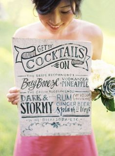 His and hers signature cocktail menu. Click on the picture to see 40 more Personal #DIY Details From Real #Weddings