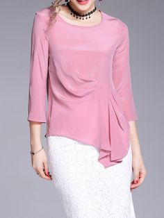 #AdoreWe #StyleWe T-Shirts - OULIE Crew Neck Folds Silk Casual Asymmetrical T-Shirt - AdoreWe.com