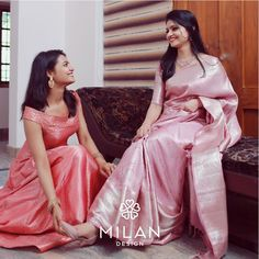 You can never go wrong with a little pink! Pastel Kanchipurams, a signature Milan saree that stands for its tradition, timeless beauty and… Kerala Engagement Dress, Engagement Saree, Engagement Dresses, Christian Wedding Sarees, Wedding Silk Saree, Bridal Lehenga, Bridal Sarees South Indian, Indian Sarees, Silk Sarees