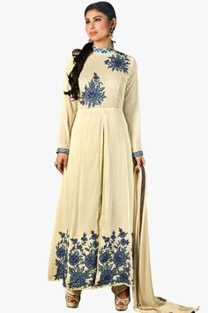 Beige Colored Enticing Designer Embroidered Straight Cut Suit In Faux Georgette
