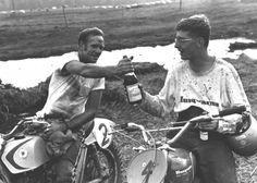"""Dick mann and Gunnar Lindstrom "" Flat Track Motorcycle, Flat Track Racing, Motorcycle Racers, Vintage Motocross, Vintage Racing, Freedom Riders, Motocross Riders, Off Road Bikes, Flat Tracker"