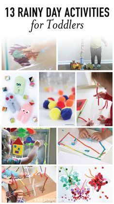 Collage of rainy day activities for kids image.