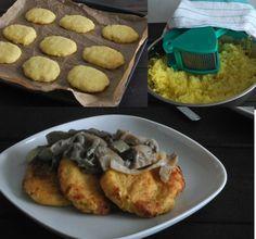 Placki ziemniaczane z gotowanych ziemniaków z sosem z boczniaków