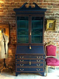 Antique Writing Bureau, Bookcase, Shabby Chic Mahogany Edwardian Secretaire