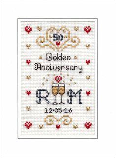 GOLDEN wedding cuori Cross Stitch Card Kit Da Florashell