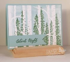 "handmade card from Debbie's Designs ... inking and stamping directly on the embossing folder ... birch trees ... Stampin"" Up!"