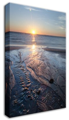 """11"""" x 14"""" Canvas Gallery Wrap Landscape Photograph: Low Tide Ravine on Beach at Sunrise. View all of the beautiful landscape photos by nature and landscape photographer Melissa Fague at:  https://www.etsy.com/shop/PIPAFineart Limited edition fine art landscape photography prints and traditional photo prints for wall decor are also available in a variety of sizes."""