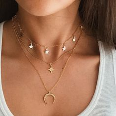 Shop & Buy Fashion Necklaces Boho Retro Crystal Star Moon Pendant Gold Multilayer Necklace Women Charm Party Wedding Jewelry Accessories Online from Aalamey Trendy Jewelry, Cute Jewelry, Bohemian Jewelry, Gold Jewelry, Women Jewelry, Bohemian Necklace, Jewlery, Jewelry Candles, Jewellery Earrings