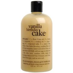 Philosophy Vanilla Birthday Cake 3 in 1 Shower Gel, 473.1ml Philosophys 3-in-1 product can be used as a shower gel, bath foam or shampoo. With a scrumptious vanilla fragrance and cake recipe on the bottle. Philosophy founder Cristina Carlito is a skin car http://www.comparestoreprices.co.uk/health-and-beauty/philosophy-vanilla-birthday-cake-3-in-1-shower-gel-473-1ml.asp