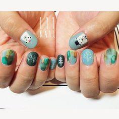 ♪♪ #nail#art#nailart#ネイル#ネイルアート#forest#green#北欧#cute#マットネイル#水彩ネイル#シロクマ#マットネイル#bear#手書きアート#イラスト#ペイント#ショートネイル#ネイルサロン#nailsalon#表参道