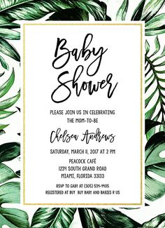 Tropical Baby Shower Invitation Tropical Invitation Palm