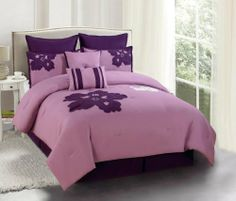 "8 Piece Queen Medina Purple and Plum Embroidered Comforter Set by KingLinen. $69.99. This amazing set will transfer your bedroom into a lovely retreat. Grand floral designs on purple ground gives your bedroom a timeless and elegant appeal.2 Euro shams and 3 decorative pillows included . FeaturesColor: Purple/PlumSize: QueenMachine washable Matching curtains availableThis set includes:1  Comforter (88""x92"") 2  Shams (20""x26""+3"")1  Bedskirt (60""x80""+14"")1  Square C..."