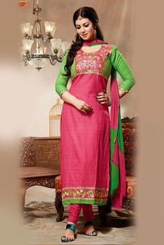 Pink Colored Cotton Unstitched Salwar-1408  Pink Colored Cotton EMB work F/s Semi Stitched Top and Same Colored Cotton Pant with Double Colored Chiffon Dupatta.