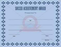 Soccer Achievement Award  Soccer Achievement Award Templates