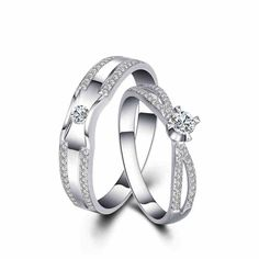 Hand Life Gold-Plated Sterling Silver Couple Rings