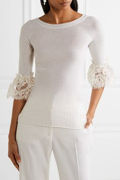 Oscar de la Renta - Corded Lace-trimmed Ribbed Merino Wool Top - Ivory - x small