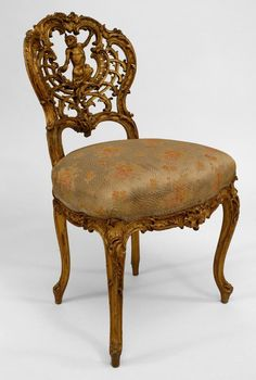 French Louis XV seating chair/side chair-pair gilt