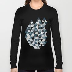 Sea Blue and Grey / Gray - Hipster Geometric Triangle Pattern 02 Long Sleeve T-shirt by pelaxy Triangle Pattern, Hipster, Aqua, Turquoise, Grey, Long Sleeve, Layering, Monochrome, Tile