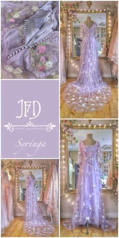 A lavender coloured silk and tulle wedding dress with lilac, silver and ivory bespoke embroidery by Joanne Fleming Design Lilac Wedding Dresses, Lavender Wedding Dress, Bridal Gowns, Wedding Gowns, Tulle Wedding, Wedding Bouquets, Wedding Centerpieces, Wedding Flowers, Pretty Dresses