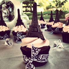 Eiffel Tower cupcakes for a Paris themed baby shower in Temecula, Ca -MS