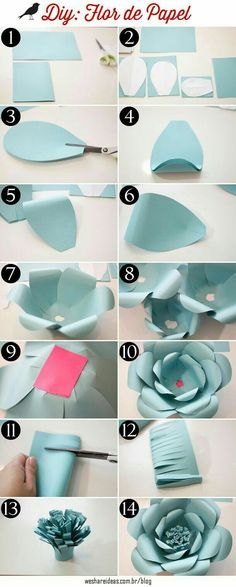 "Flores de papel ""Discover thousands of images about como fazer flores de papel para festas passo a passo"", ""DIY blue paper flower back drop step by step"