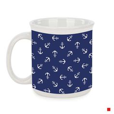 Nice navy blue coffee mug with white anchors. Perfect for your first morning coffee! White Whale, Blue Whale, Whale Pattern, Blue Coffee Mugs, Navy Blue, Blue And White, White Apron, Money Box, Nautical Theme