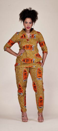 Gilliane Set. Our Gilliane Set is a statement piece you can not afford to miss.  Ankara | Dutch wax | Kente | Kitenge | Dashiki | African print bomber jacket | African fashion | Ankara bomber jacket | African prints | Nigerian style | Ghanaian fashion | Senegal fashion | Kenya fashion | Nigerian fashion | Ankara pant suit (affiliate)