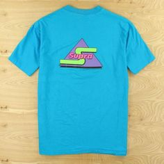vtg usa made 90's SUPRA tee t-shirt, size XL / extra large, teal color logo #Hanes #GraphicTee