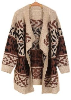 Cozy tribal print cardigan in brown. Yes, please. With hot cocoa and a roaring fire. Hell, throw in a boy as well.