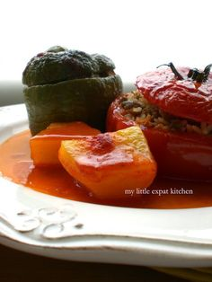 The Gemista - Greek stuffed Tomatoes and Peppers with Rice and Minced Beef