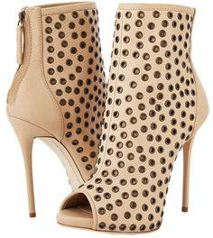 Gisueppe Zanotti | eyelet-embellished tan-leather peep-toe back-zipper very-high-heeled ankle boots