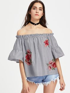 567440148727e7 Shop Embroidered Rose Applique Trumpet Sleeve Striped Bardot Top online.  SheIn offers Embroidered Rose Applique