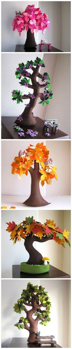 DIY Felt Trees Hobbies And Crafts, Diy And Crafts, Crafts For Kids, Arts And Crafts, Felt Diy, Felt Crafts, Fabric Crafts, Felt Flowers, Paper Flowers