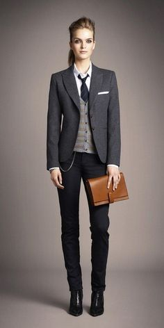 Classic masculine modern version of a woman wearing a suit