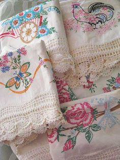 love the flower cart and floral chicken, wide crochet edgeVintage Embroidered Pillowcases. love the flower cart and floral chicken, wide crochet edge Vintage Pillow Cases, Vintage Pillows, Vintage Fabrics, Sewing Pillow Cases, Vintage Embroidery, Embroidery Patterns, Hand Embroidery, Machine Embroidery, Embroidery Sampler
