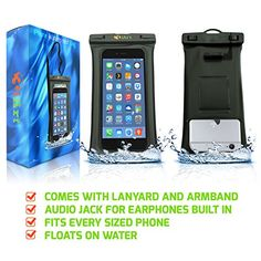 The 3iart waterproof iphone case floats in the water and makes your phone usable underwater. Includes a lanyard and audio jack.