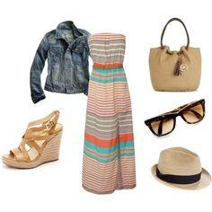 MK bag, jean jacket, maxi dress and perfect summer wedges