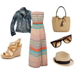 Maxi dress, jean jacket, espadrilles,#Repin By:Pinterest++ for iPad#