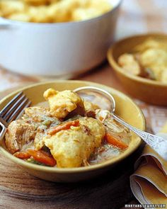 Chicken and Dumplings--browning the chicken before adding to the vegetables and creamy gravy amplifies the flavor in this stew. The addition of cornmeal gives the dumplings a hearty texture.  The recipe uses skinless chicken thighs and low-fat milk.