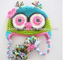 Hand Crochet Owl Beanie Hat with Earflaps, Baby Boy Hat, Photo Prop Animal Hat, Made to Order (KCC-TM0058)