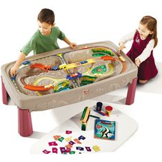 Step2 Deluxe Canyon Road Train and Track Table- Think I am going to get one of these, then use the top of it as a lego table, by attaching lego plates to the top lid