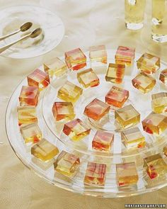 Dessert Wine Gelees with Citrus Fruit  Gelatin shots, the perennial college favorite, put on their Sunday clothes for these edible treats. Use segments from various citrus fruits to create a beautiful sunset fade in these dessert wine gelees.