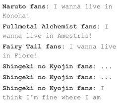 Naruto fans, Fullmetal Alchemist fans, Fairy Tail fans, Shingeki no Kyojin fans, Konoha, Amestris, Fiore, funny, text, crossover; Anime