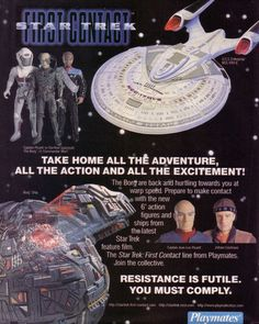 Released in the fall of 1996 to coincide with the theatrical debut of Star Trek First Contact the Playmates action figure line ushered in. Gi Joe, Star Trek Communicator, Star Trek Action Figures, Seven Of Nine, Star Trek Merchandise, Star Trek Generations, Bee Toys, Resistance Is Futile, News 6